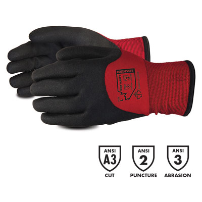 product image of dexterity Red Winter-Lined Nylon Gloves with Full PVC Coating