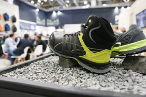A pair of Puma safety boots on display at the A+A Trade Fair in Dusseldorf