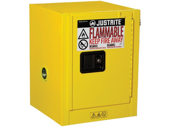 Sure-Grip® EX Countertop Flammable Safety Cabinet, 4 gallon, 1 manual close door, Yellow