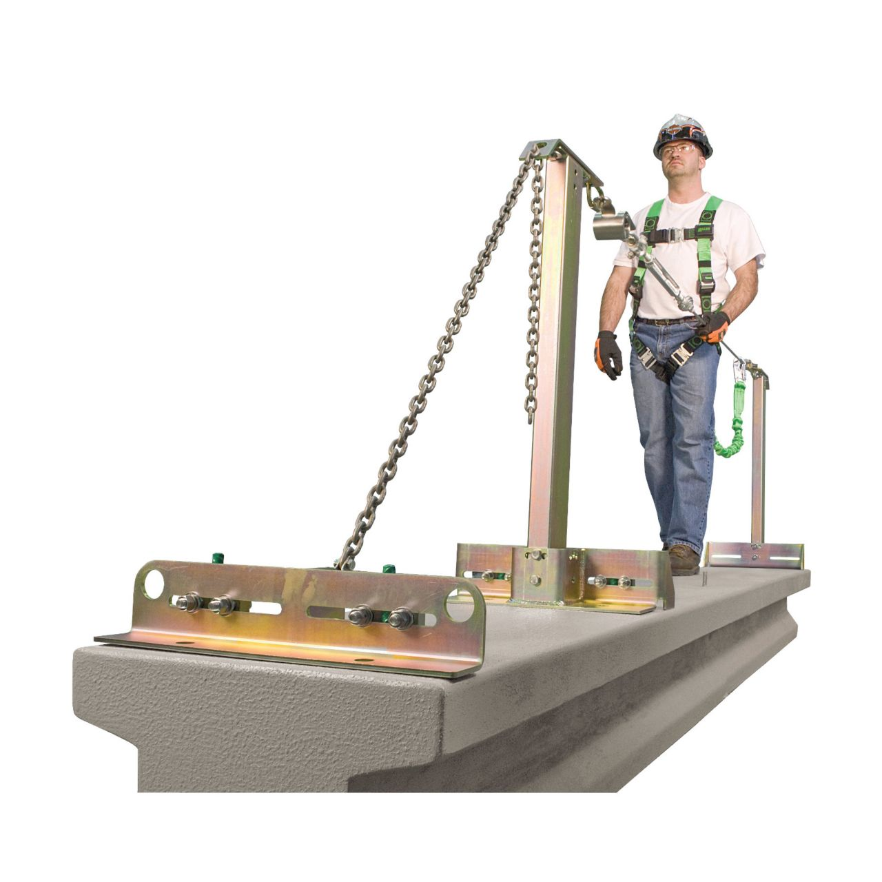 product image of man standing on Miller SkyGrip temporary horizontal lifeline systems