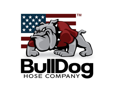 bulldog hoses company logo with a cartoon bulldog growling