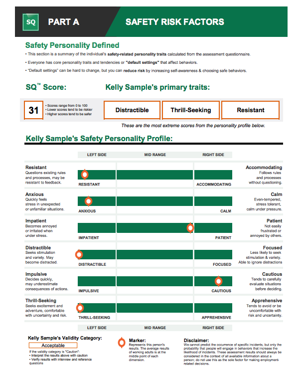 workstyle personality test and safety risk factors