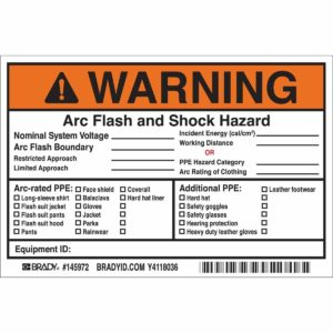 Warning label arc flash