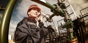 woman on oil rig