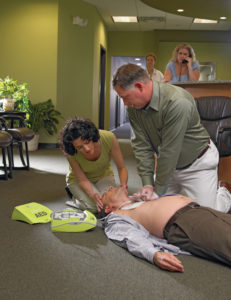 Using an aed on a man in cardiac arrest