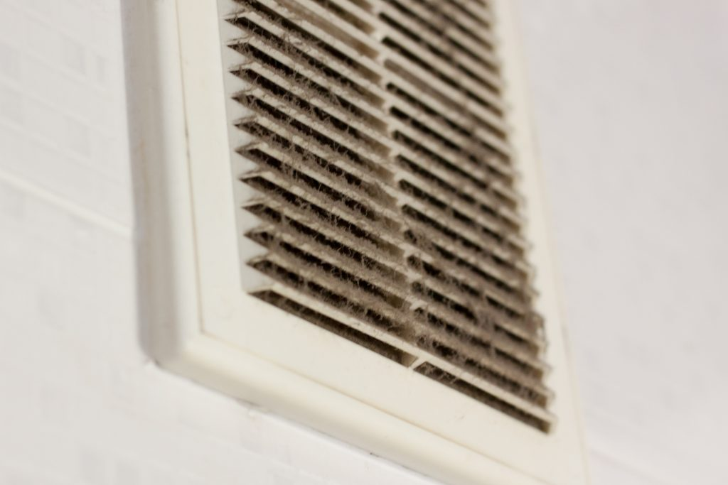 Filter is completely clogged with dust and dirt