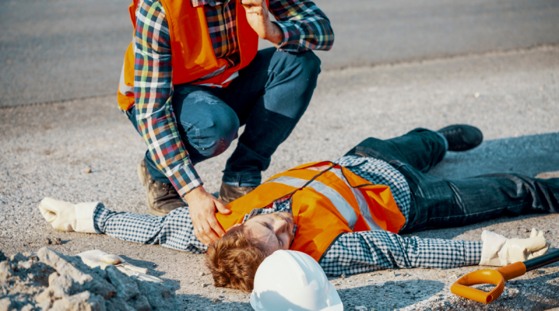 worker who has collapsed because of heat stress