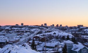 wintry landscape of Yellowknife, Canada
