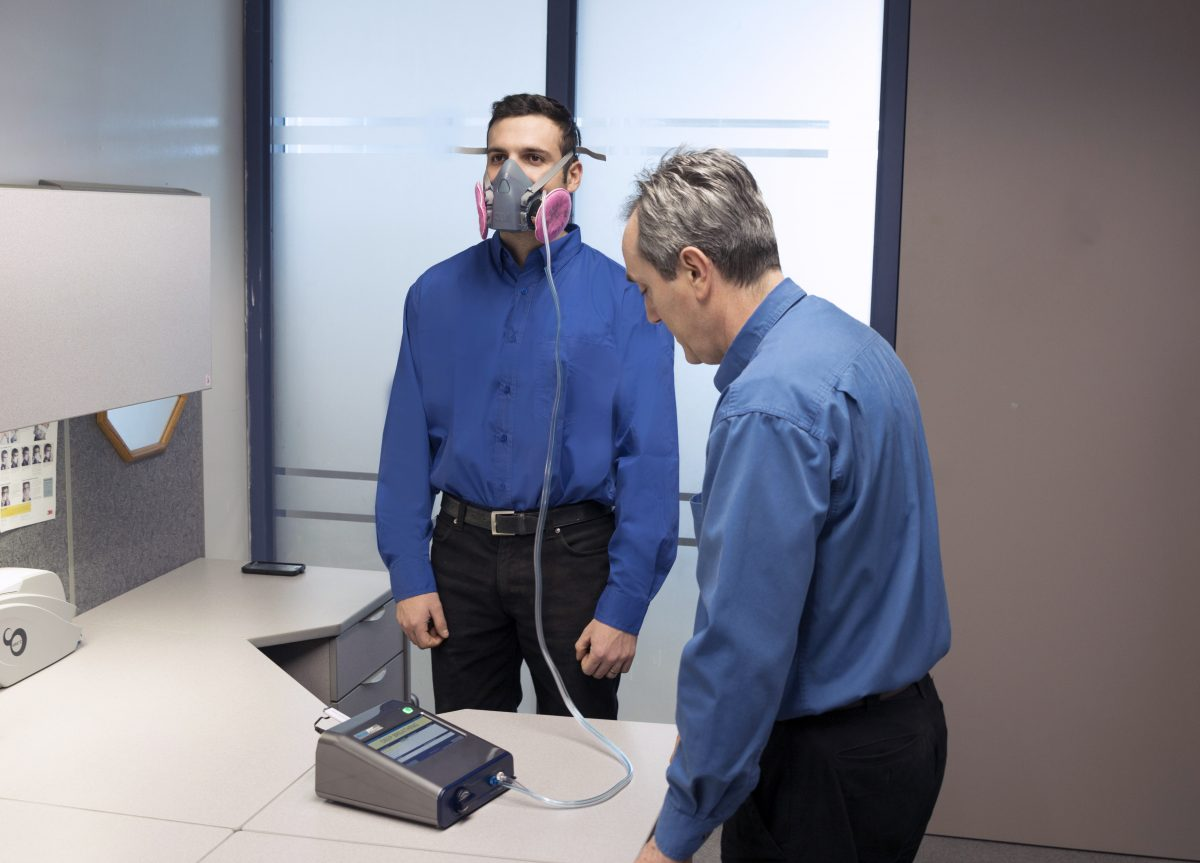 photo of man being fit tested for a respirator