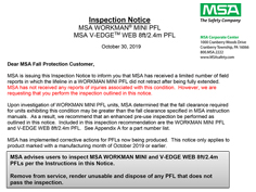 MSA Workman Mini and V-EDGE inspection notice