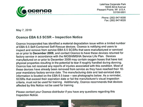 Ocenco EBA 6.5 SCSR - Avis d'inspection
