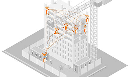 image of construction site depicting deployment of WES3 systems and how they communicate