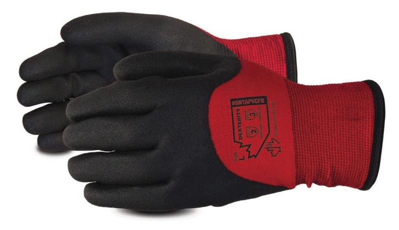 picture of red Dexterity Winter-Lined Nylon Gloves with PVC Palm glove