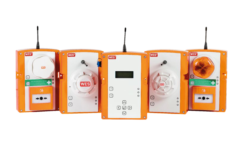 line up of wes3 wireless fire alarm system units