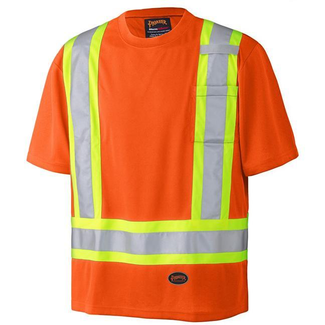 product image of Pioneer orange safety shirt with hi-viz strips along shoulders and stomach