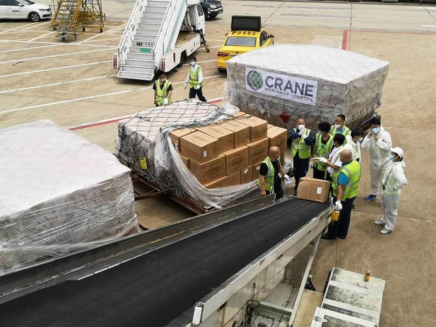 Critical supplies being unloaded from Air Canada jet