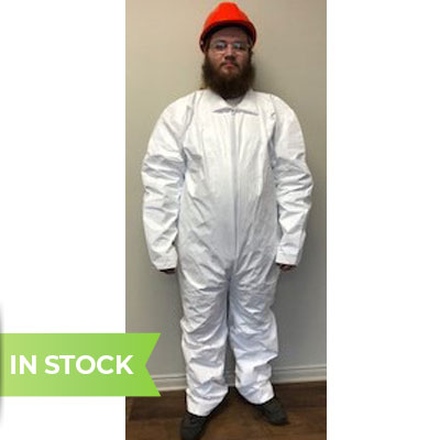Man wearing polycoated white tyvek qc coverall