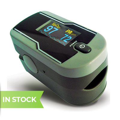Fingertip pulse oximeter with carry case and lanyard (includes alkaline batteries)