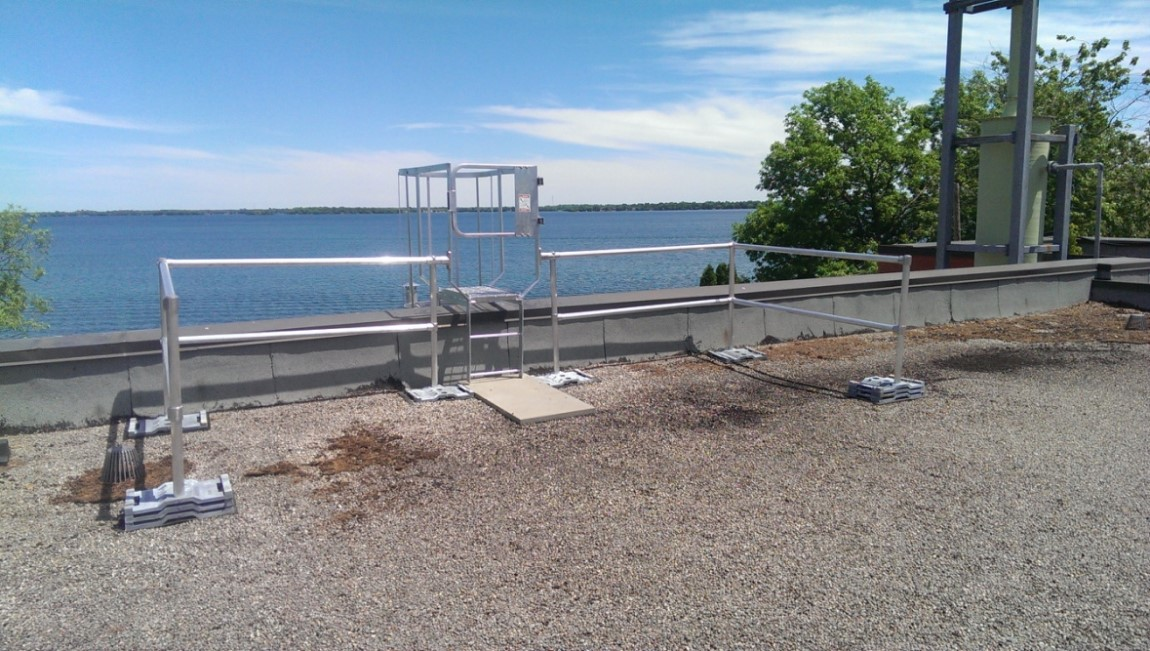 ladder top kit guardrail with lake in background