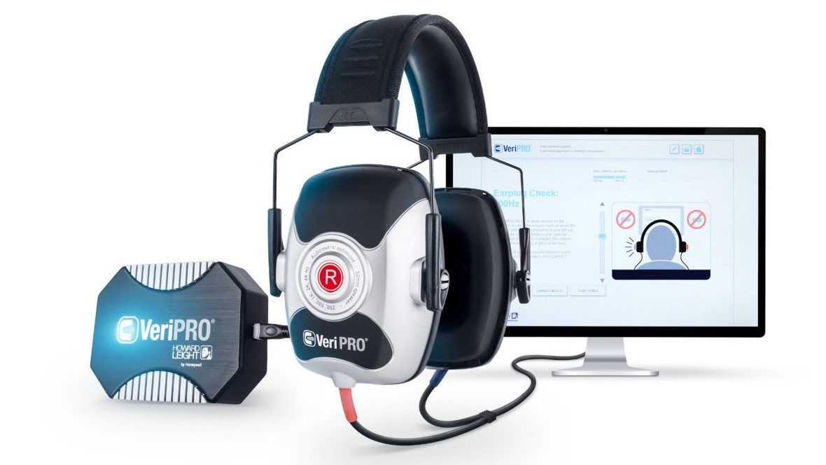 VeriPro headset by howard leight with PC in the background
