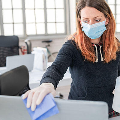 Image of woman wearing face mask