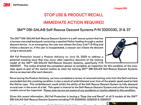 Stop Use & Product Recall 3M DBI-Sala Self-Rescue Descent Systems P/N 3320030, 31 & 37