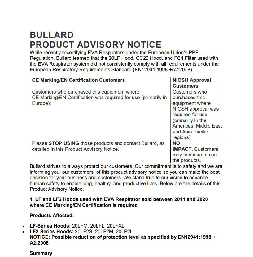 Bullard Product Advisory Notice