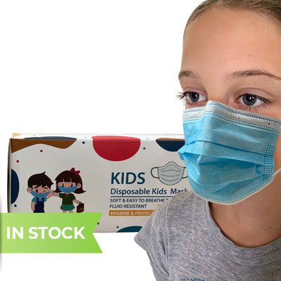 Children's 3-Ply Disposable Mask with child wearing the mask