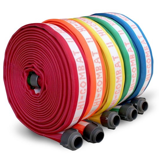 row of rolled firehoses from bulldog