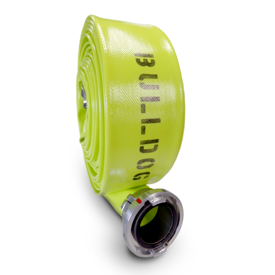 rolled yellow firehose with BullDog printed on it