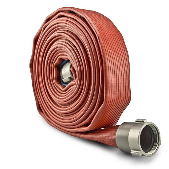 rolled red fire hose standing up
