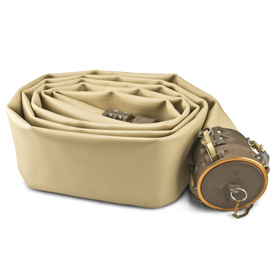 Beige rolled fire hose laying on its side