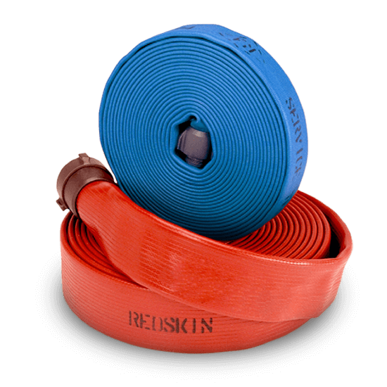 rolled red hose lying on its side with a rolled blue hose standing on top