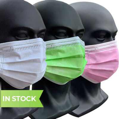 product image of m127c medical mask in white, green and pink