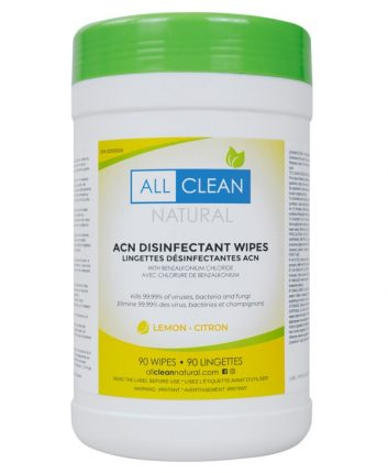 bucket of all clean natural hand and surface sanitizing wipes