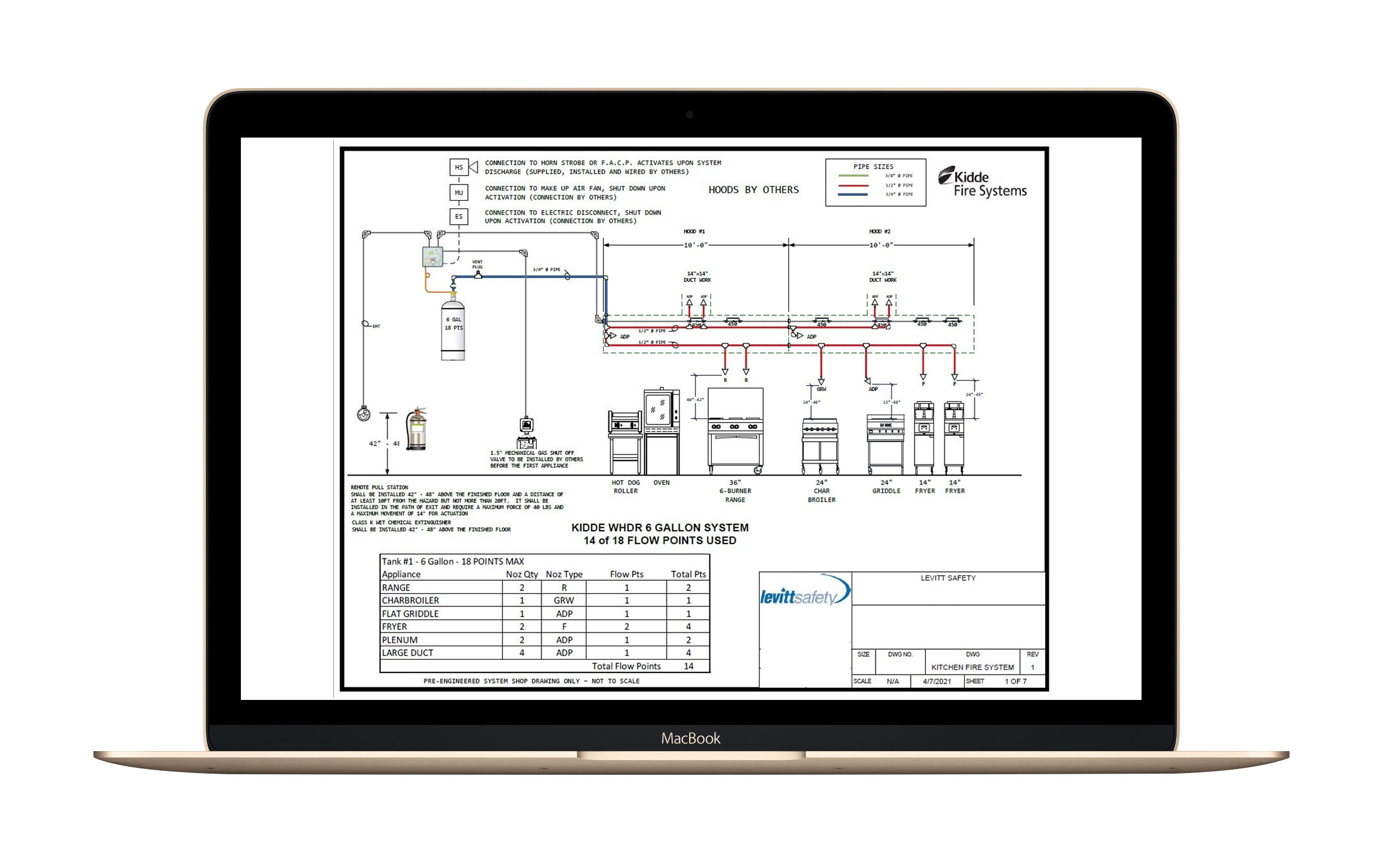 example of kitchen fire suppression systemc cad drawing