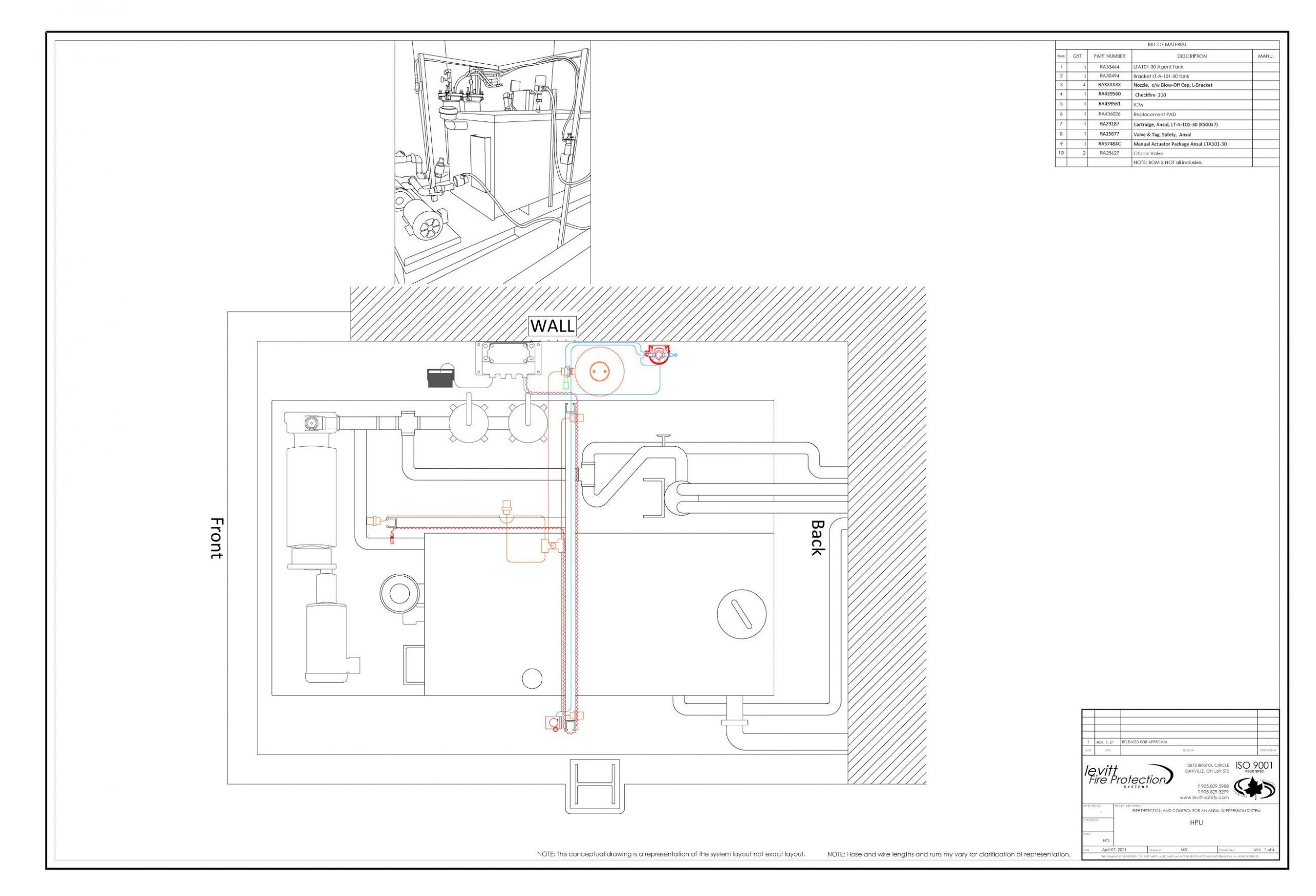 vehicle fire suppression system CAD drawing