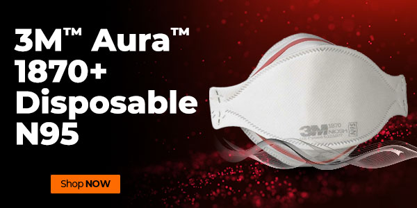 product shot of the 3M Aura disposable N95 respirator with orange button reading shop now