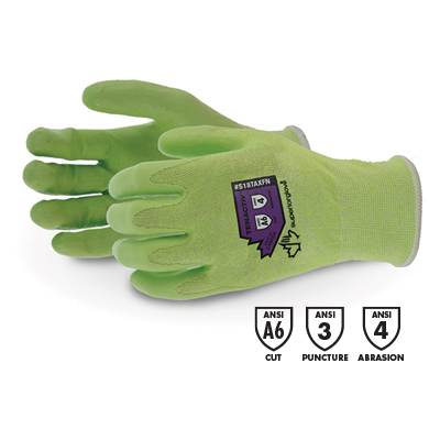 product photo of tenactiv green cut-resistant glove with foam nitrile palms and A6 cut, puncture 3, abrasion 4 ratings