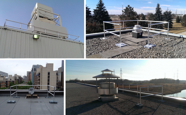a collage of guardrails set up on roof tops