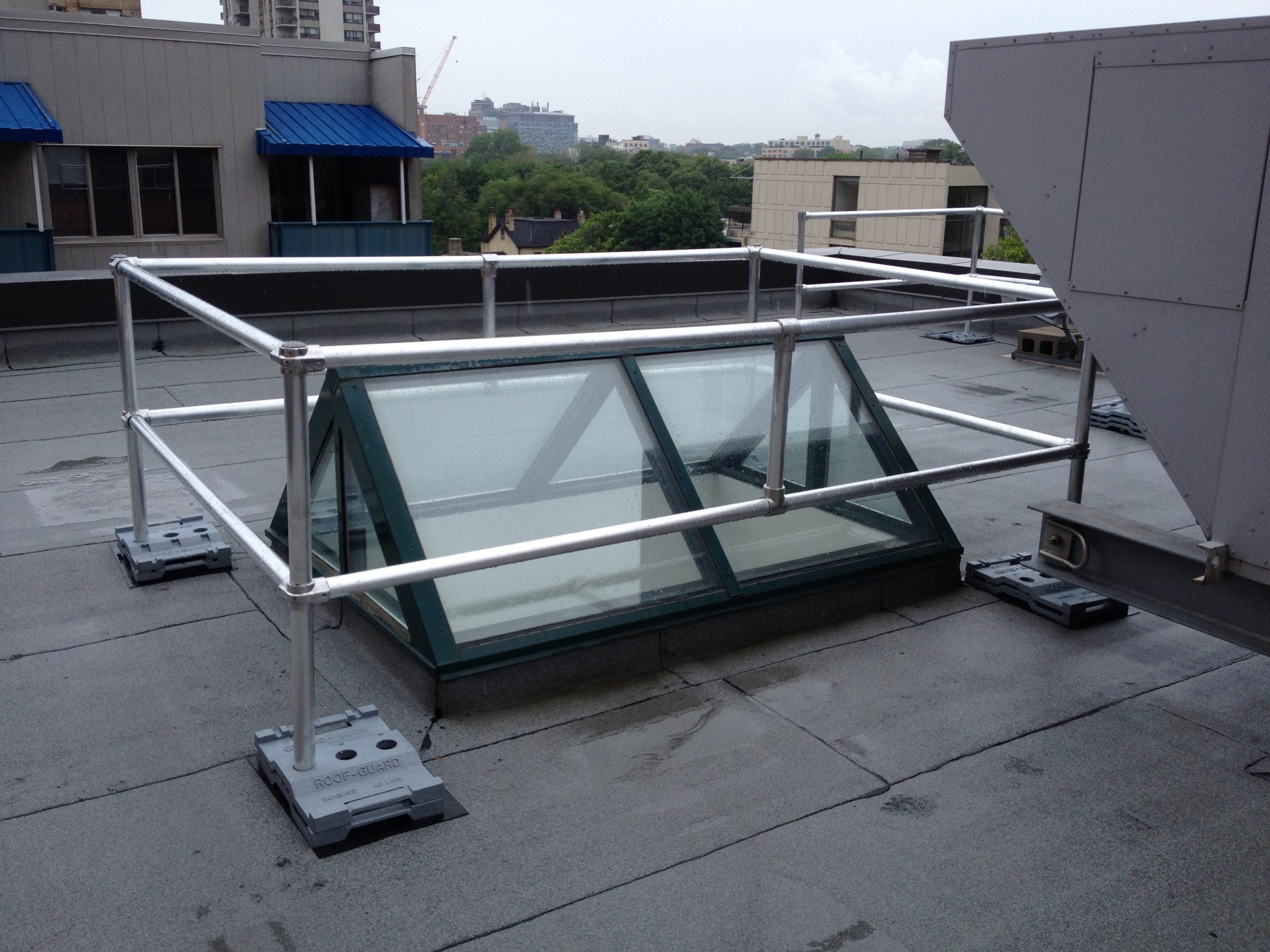 rooftop guardrail around skylight to protect from falls