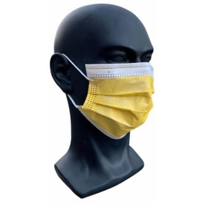 mannequin wearing gold coloured face mask