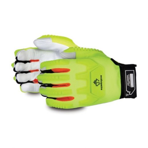 hi vis green glove with white palms and black cuffs